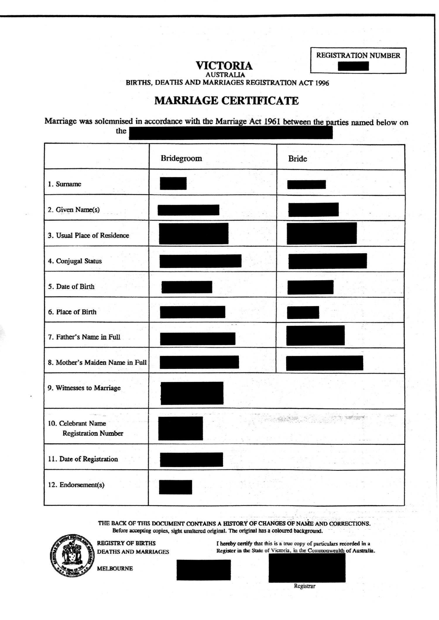 Marriage certificate Australia